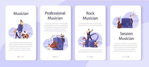 Professioneller musiker spielt musikinstrumente mobile application banner set. junger darsteller, der musik mit professioneller ausrüstung spielt. jazz- und rockband-performance. .