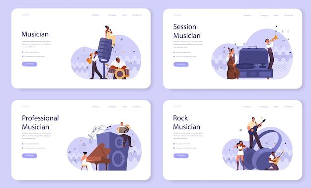 Professioneller musiker spielt musikinstrumente web-banner oder landingpage-set. junger darsteller, der musik mit professioneller ausrüstung spielt. jazz- und rockband-performance. .