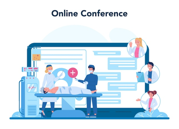 Professioneller onkologe-onlinedienst oder plattform. diagnose und behandlung von krebserkrankungen. online-konferenz.