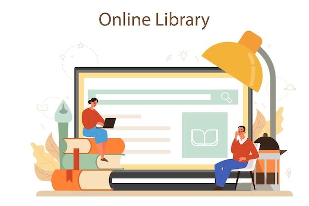 Professioneller online-service oder plattform für kritiker. journalist, der lebensmittel und literatur überprüft und bewertet. online-bibliothek.