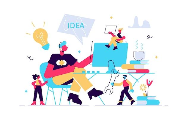 Professioneller programmierer bei der arbeit illustration Premium Vektoren