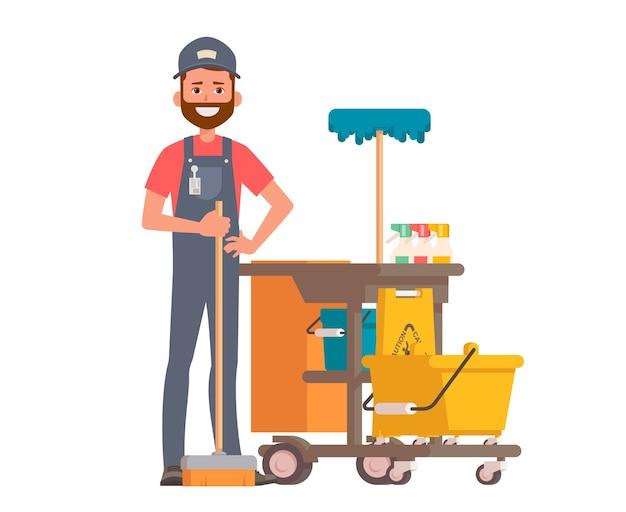 Professioneller reiniger mit reinigungsgeräten