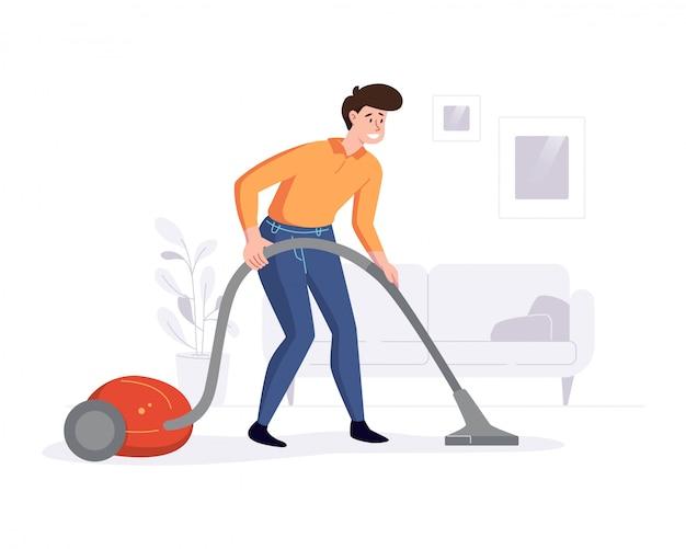 Professioneller reiniger reinigt das haus mit einem staubsauger. professionelle aufgaben des reinigungsdienstes bieten konzepte. illustration.