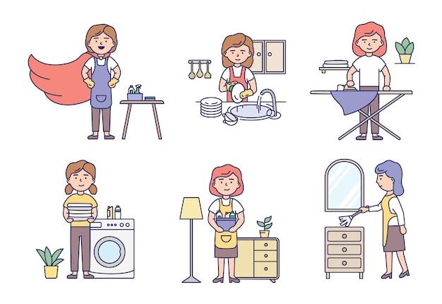 Professioneller reinigungsservice und hausarbeitskonzept. satz von hausfrauen in uniform machen hausarbeit mit reinigungsprodukten und arbeitswerkzeugen. cartoon outline linear flat style.