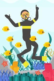 Professioneller taucher, der unter wasser schwimmt, umgeben von fischen. meereslebewesen. schöne korallenriffe. flaches design