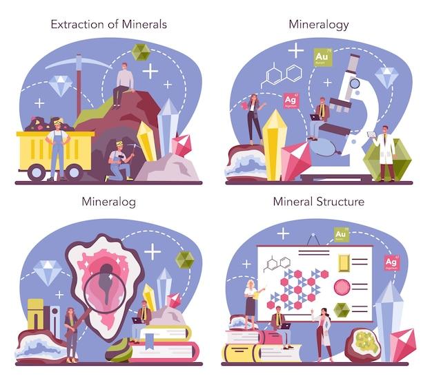 Professioneller wissenschaftler, der naturstein und mineralstruktur studiert