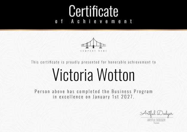Professioneller zertifikatsvorlagenvektor in edlem design