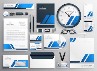 Professionelles blaues Geschäftssolidary-Briefpapier-Set