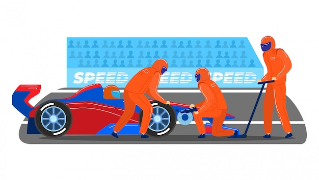 Professionelles boxenstopp-team, männlicher charakter zusammen service-formel-1-sportwagen lokalisiert auf weiß, karikaturillustration.