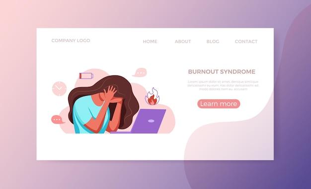 Professionelles burnout-syndrom erschöpfte frau, die müde an ihrem arbeitsplatz im büro sitzt und sie hält