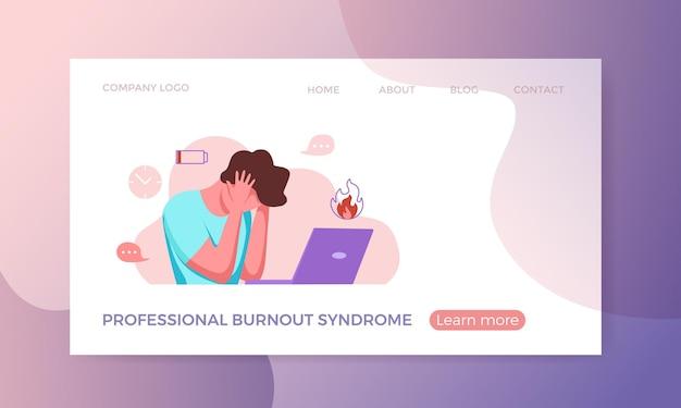Professionelles burnout-syndrom erschöpfter mann, der müde an ihrem arbeitsplatz im büro sitzt