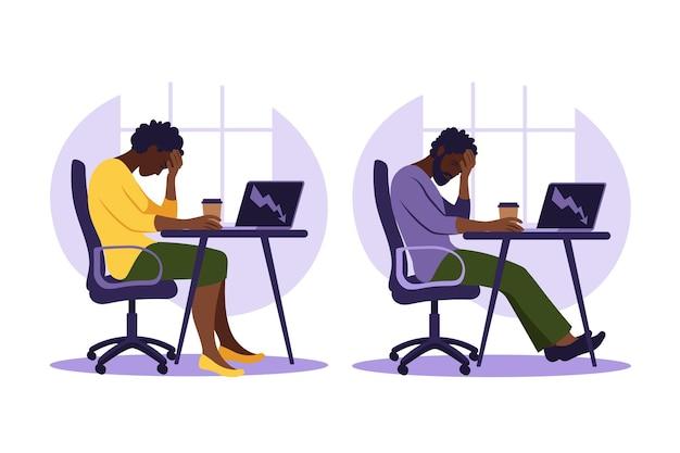 Professionelles burnout-syndrom. illustration frustrierter arbeiter, psychische gesundheitsprobleme. illustration im flachen stil.