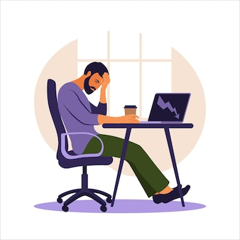 Professionelles burnout-syndrom. illustrierter müder büroangestellter, der am tisch sitzt. frustrierter arbeiter, psychische gesundheitsprobleme. vektorillustration in der wohnung.