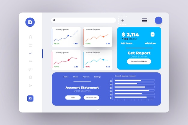 Professionelles dashboard-bedienfeld