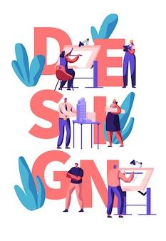 Professionelles designer-teamwork-poster. mann und frau charakter zeichnen und gestalten gebäudelayout. kreative wohnungsplanung. flache karikatur-vektorillustration des modernen innenkonzeptes