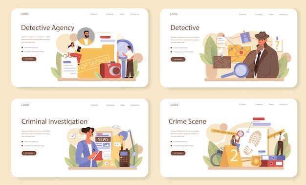 Professionelles detektiv-webbanner oder landingpage-set