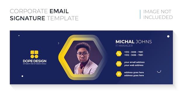 Professionelles e-mail-signaturdesign des dunklen geschäftsunternehmens premium-vektor