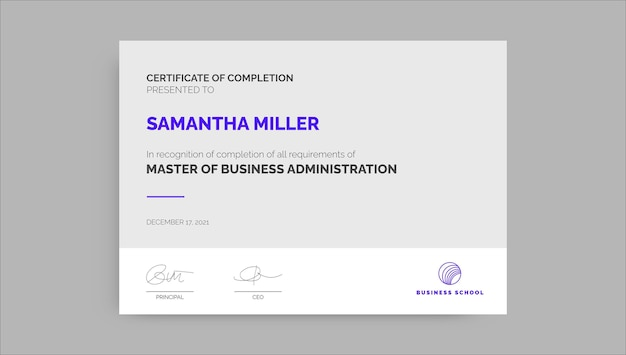 Professionelles einfaches mba-zertifikat