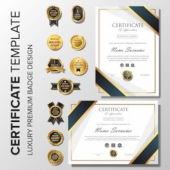Professionelles elegantes zertifikat mit abzeichen