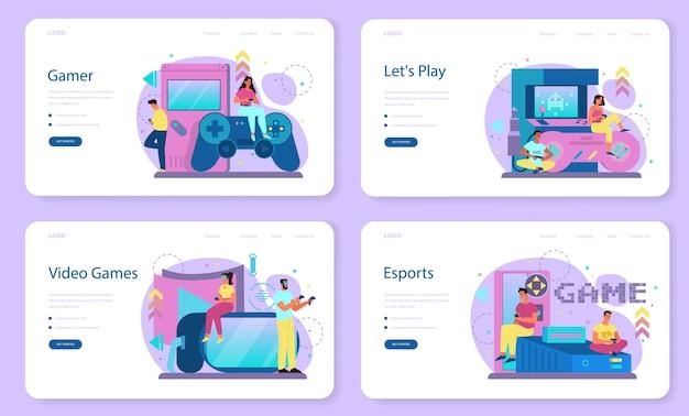 Professionelles gamer-web-banner oder landingpage-set