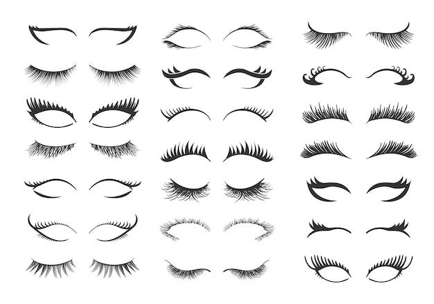 Professionelles glamour-make-up. satz wimpern lokalisiert auf weiß