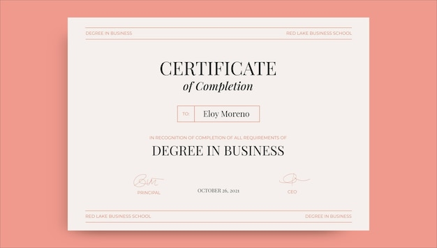Professionelles minimalistisches eloy business studies zertifikat