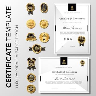 Professionelles minimalistisches zertifikat mit abzeichen