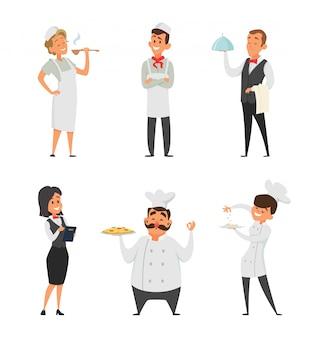 Professionelles personal des restaurants. koch, kellner und andere zeichentrickfiguren