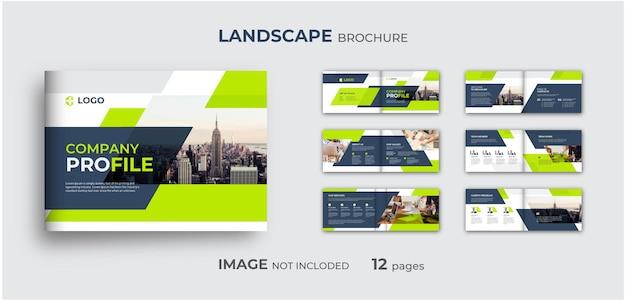 Professionelles unternehmensprofil landschaftsbroschürenvorlage mehrseitiges minimales broschürendesign
