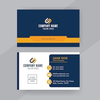 Professionelles visitenkarten-design mit doppelseitiger präsentation