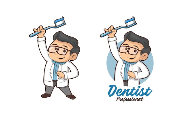 Professionelles zahnarzt-maskottchen-logo