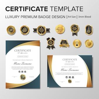Professionelles zertifikat design mit abzeichen