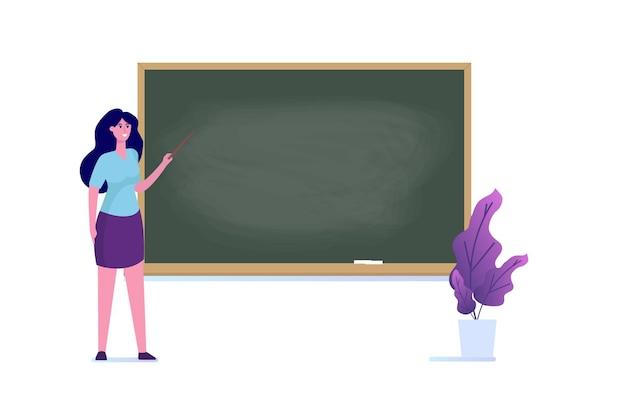 Professor oder lehrer, der nahe der leeren schultafel steht