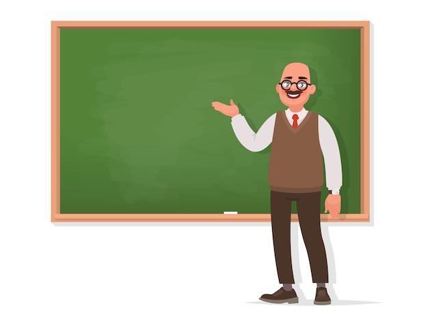 Professor steht an der tafel auf einem weißen hintergrund. der lehrer hält einen vortrag