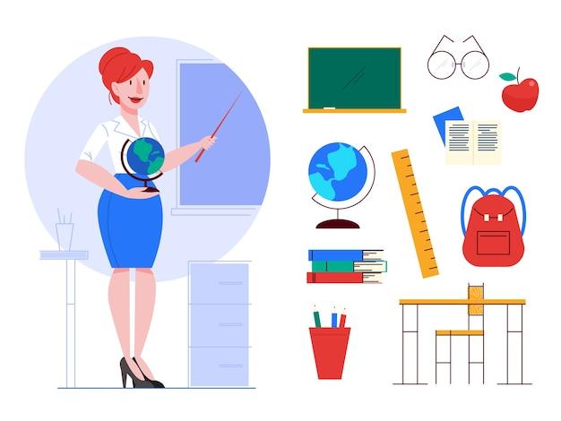 Professorinnen, schullehrerin eingestellt. idee von bildung und wissen. satz schulgegenstände, globus, brett, apfel, buch, schülerbuch. illustrationv