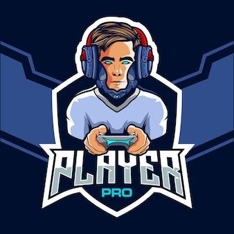 Profi-esport-spieler mit einem roboterkopf-logo-design