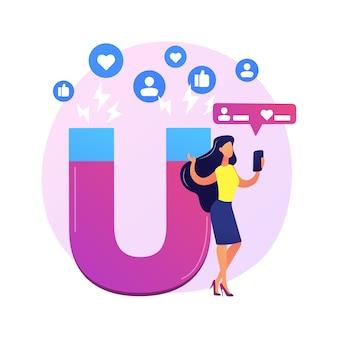 Profil des sozialen netzwerks. berühmter blogger, influencer-cartoon-farbcharakter. foto mag und reposts. internet-popularität, ruhm, berühmtheit.