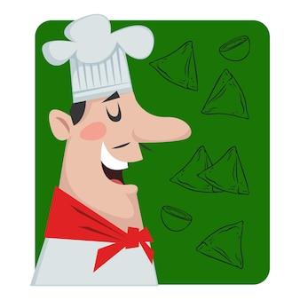 Profil eines männlichen kochs auf grünem hintergrund vektor-illustration im cartoon-stil für kinder