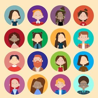 Profil-ikonen-avatara-bild-gruppen-zufällige leute-große massen-verschiedene ethnische mischungs-fahne