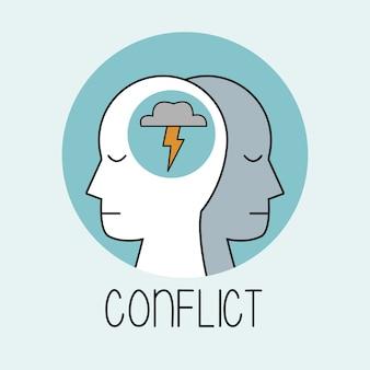 Profil menschlicher kopfkonflikt