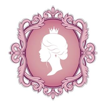 Profil silhouette einer prinzessin im rahmen
