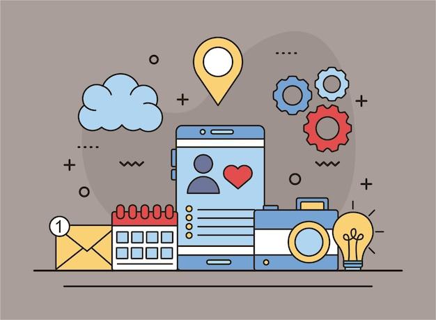 Profilieren sie avatar mit herz in smartphone-linie und füllen sie stilikonen-illustrationsdesign