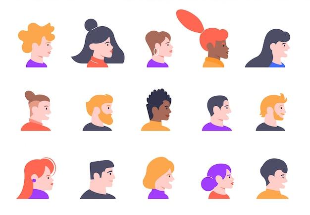 Profilieren sie personenporträts. gesicht männliche und weibliche profile avatare, junge leute charaktere köpfe profilansicht illustration symbole gesetzt. verschiedene frauen und männer stehen seitenansicht gegenüber