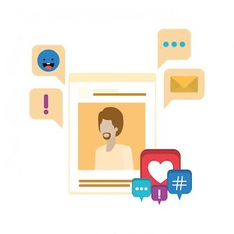 Profilsozialnetzmann mit spracheblase