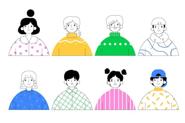 Profilsymbole packen im handgezeichneten stil