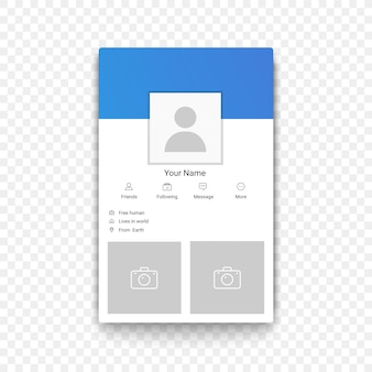 Profilvorlage für mobile apps für soziale netzwerke auf dem transperanten alpha-hintergrund