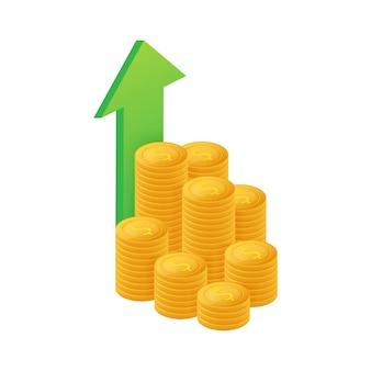 Profit geld oder budget. bargeld und steigende grafik pfeil nach oben, konzept des geschäftserfolgs.
