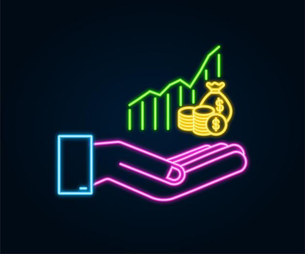 Profit-geld- oder budget-neon-symbol in den händen bargeld und steigender diagrammpfeil nach oben