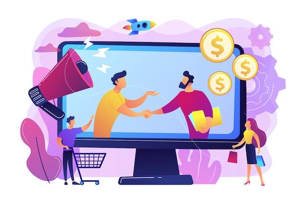 Profitable partnerschaft, geschäftspartner cowork. affiliate-marketing, kostengünstige marketing-lösung, affiliate-marketing-management-konzept.