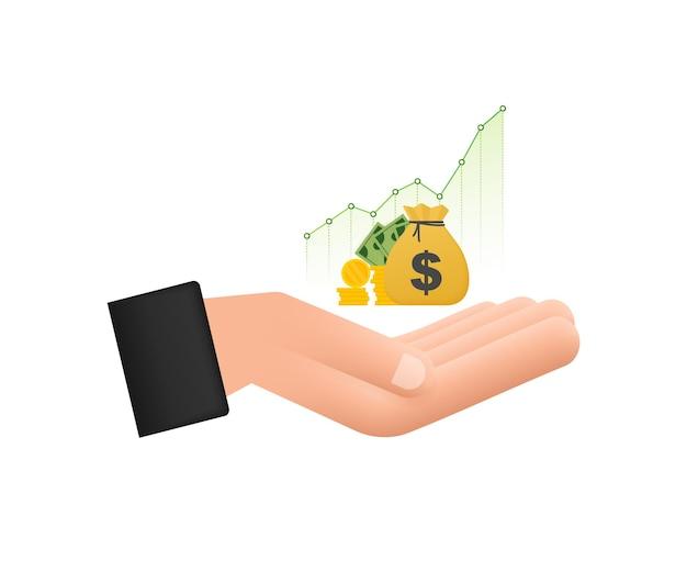 Profitieren sie geld- oder budgetikone in den händen bargeld und steigender diagrammpfeil nach oben konzept des geschäftserfolgs